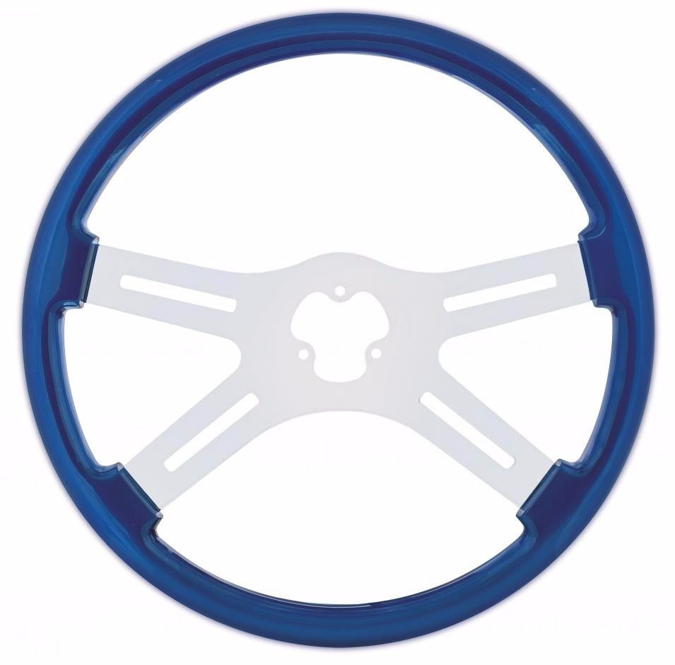 "18"" Steering Wheel with Chrome Spoke for Peterbilt, Kenworth, Freightliner, International Trucks, Blue"