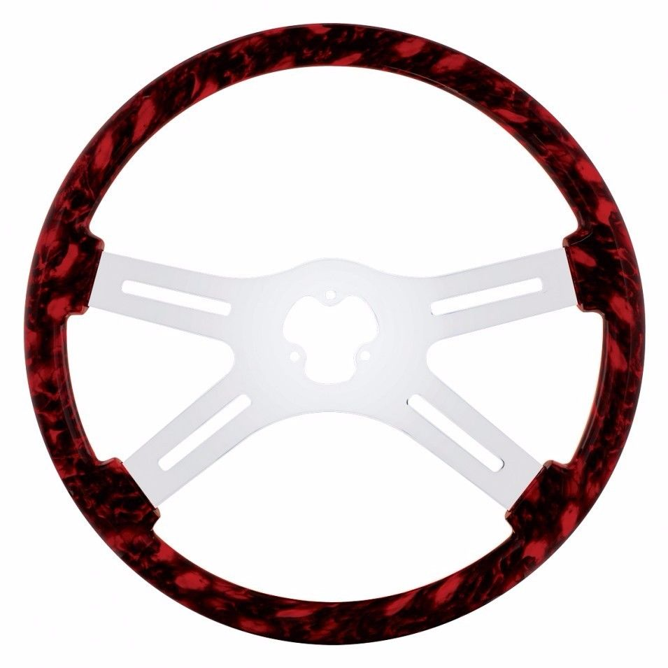 "18"" Skull Steering Wheel for Peterbilt, Kenworth, Freightliner, International, Red"