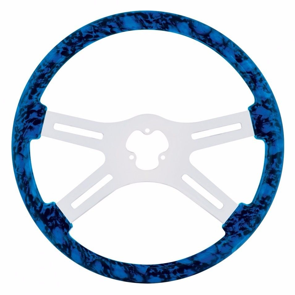 "18"" Skull Steering Wheel for Peterbilt, Kenworth, Freightliner, IHC, Blue"