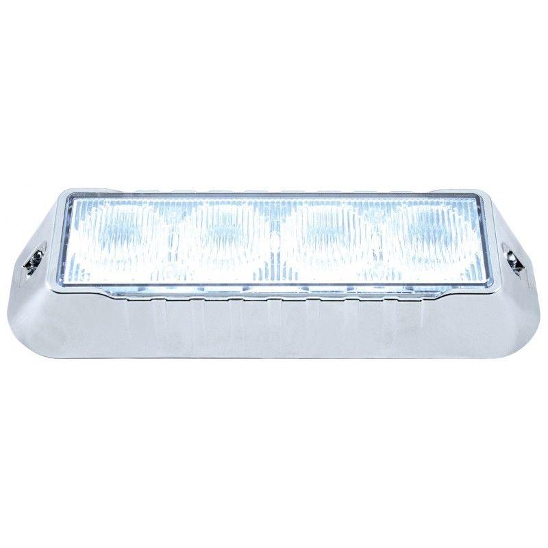 4 LED 12V/24V Warning Strobe Light, White