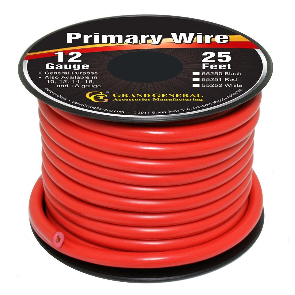 Red 12-Gauge Primary Wire Roll of 25Ft
