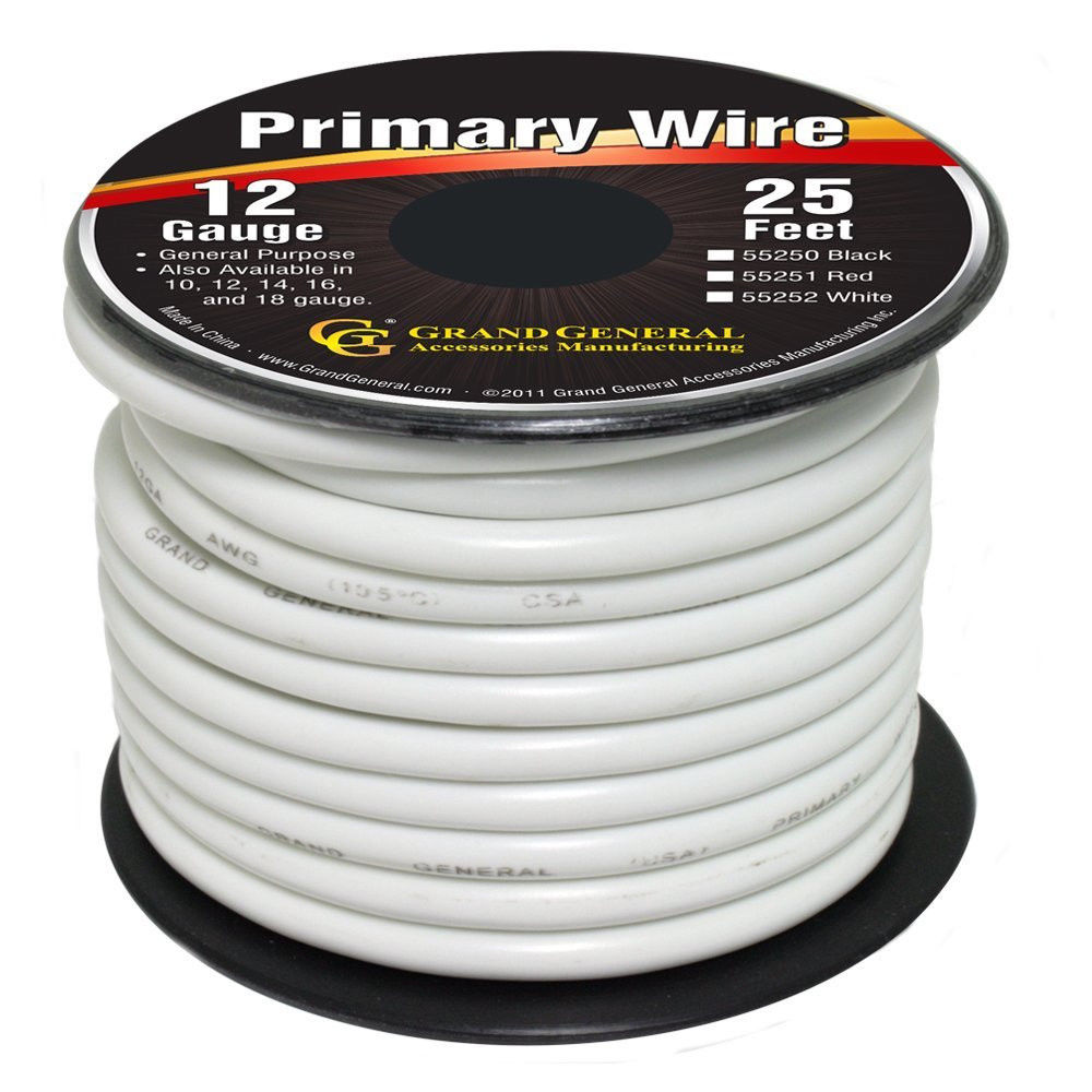 White 12-Gauge Primary Wire Roll of 25Ft