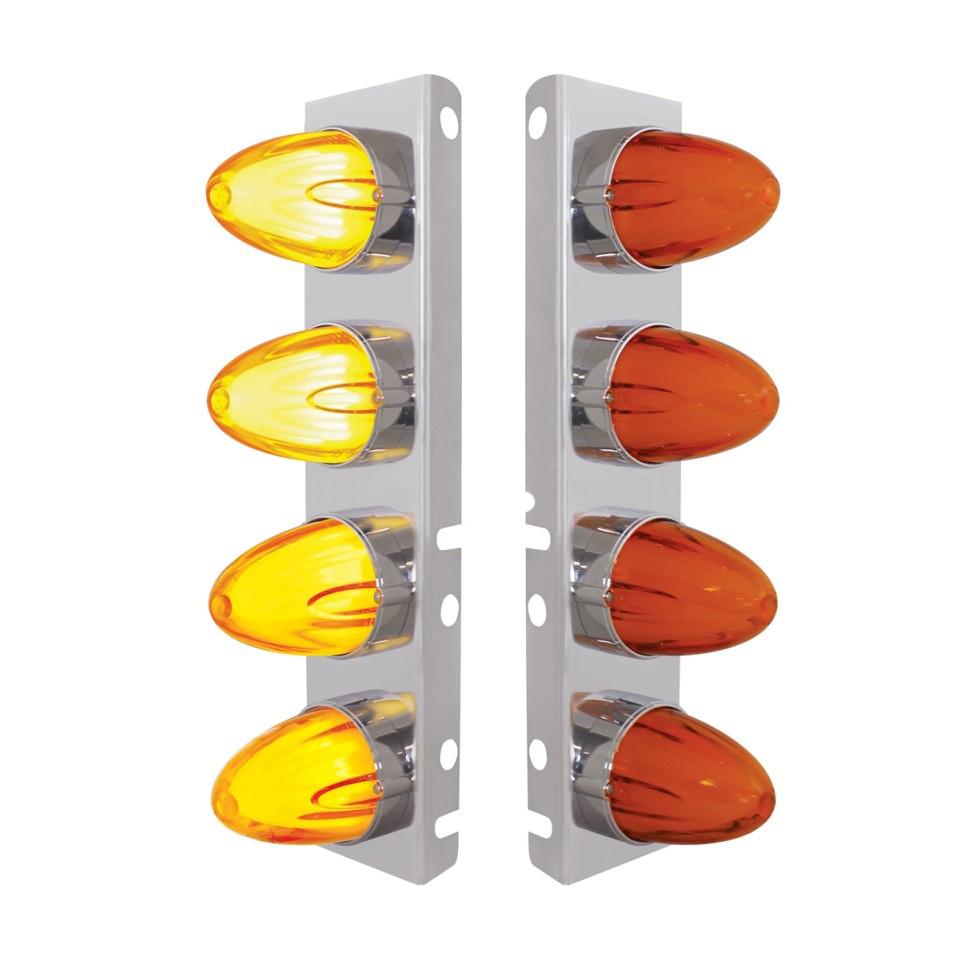 Peterbilt 8 LED Front Air Cleaner Brackets Watermelon Amber/Amber, Pair