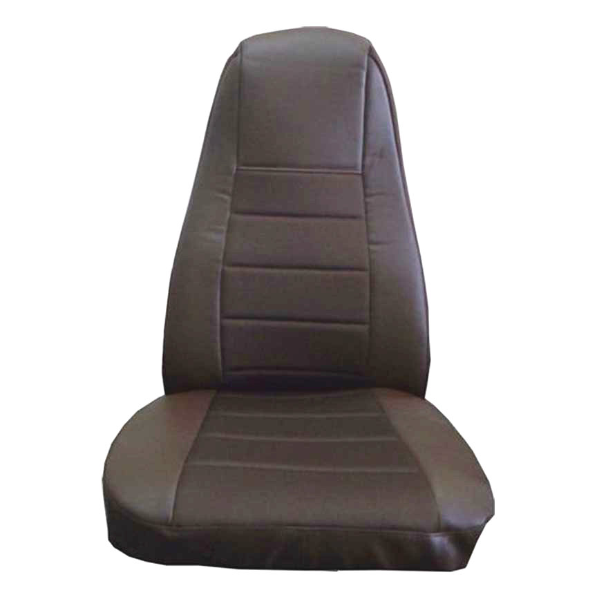Brown Faux Leather Seat Cover with Pocket