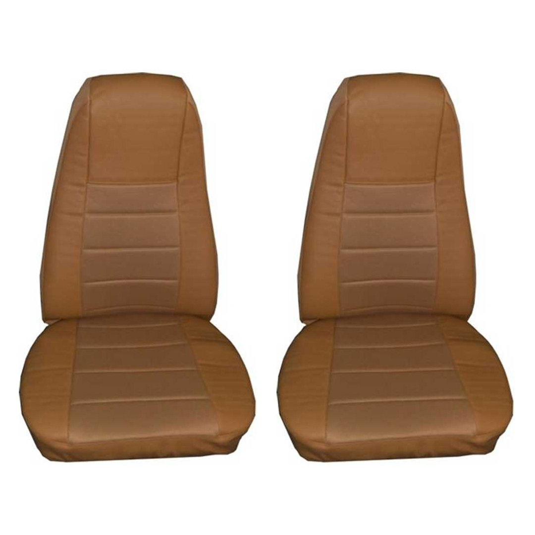 Tan Faux Leather Seat Cover with Pocket, Pair