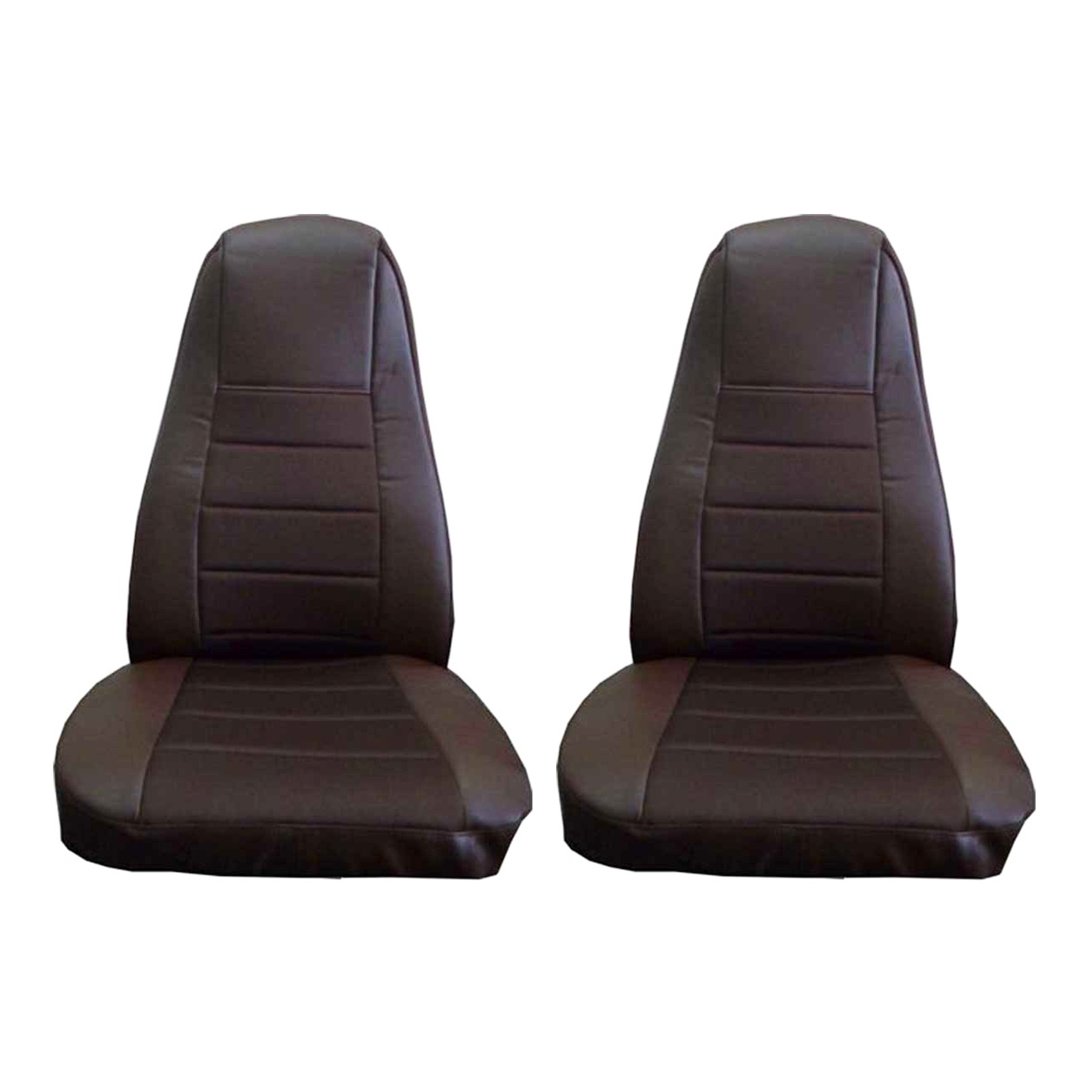 Brown Faux Leather Seat Covers with Pocket, Pair