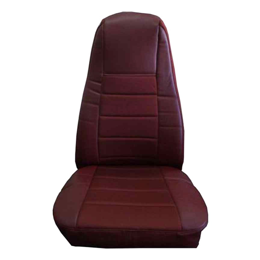 Burgundy Faux Leather Truck Seat Cover with Pocket