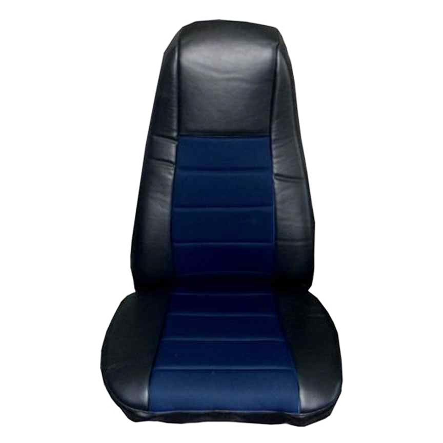 Black & Blue Faux Leather Truck Seat Covers, Pair