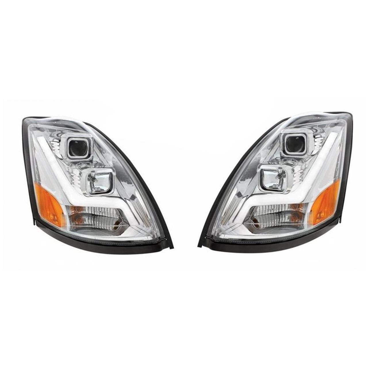 Volvo VN/VNL Projection Headlights with LED Position Light Bar, Chrome
