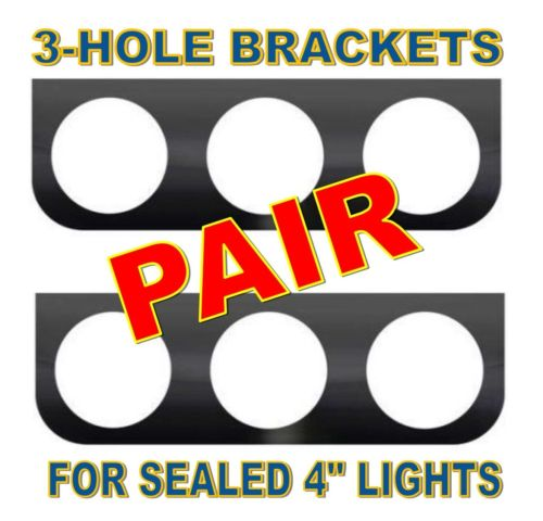 """Black L Mounting Bracket with 3 Round Holes for 4"""" Lights (pair)"""