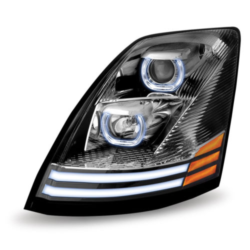 Volvo VNL Halogen Projector LED Headlight Chrome  (Driver side) 2004 and up