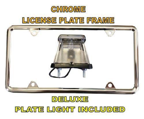Chrome License Plate Frame & Deluxe License Plate Light