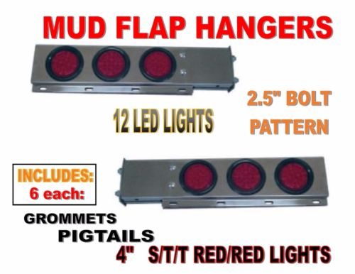 Stainless Steel Mud Flap Hanger with LED Lights Spring Loaded 2 Pc set