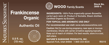 FRANKINCENSE, ORGANIC ESSENTIAL OIL (15 ml)