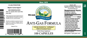ANTI-GAS FORMULA (WITH LOBELIA)(100) - Temp Unavailable