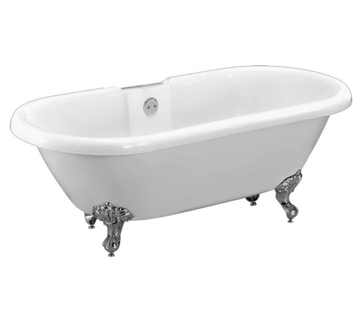 Dual Traditional Rolltop Freestanding Bath including Chrome Feet