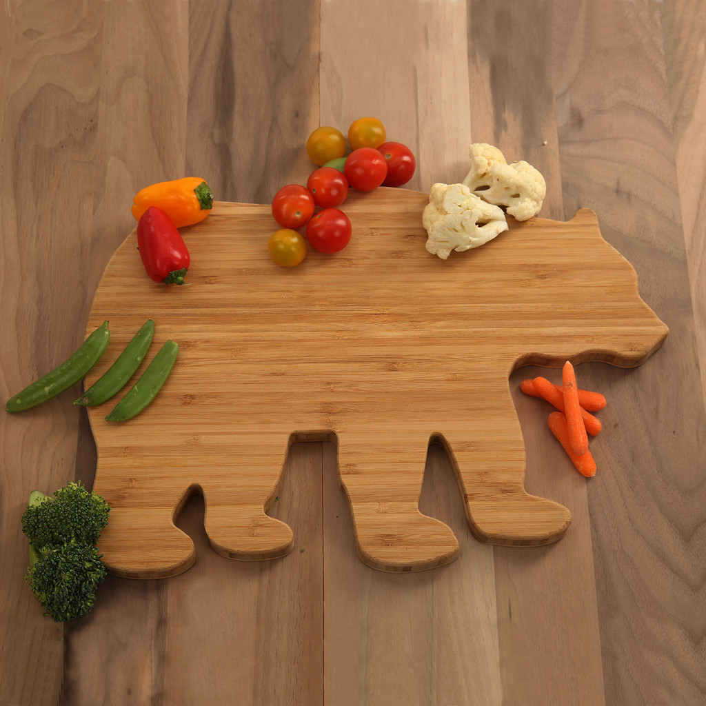 Bear Shaped Bamboo Cutting Board Click Here To Enlarge