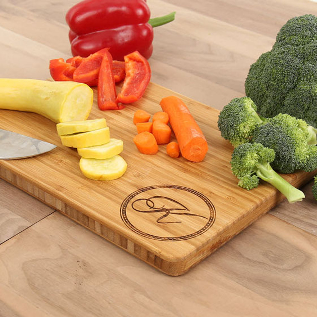 Art Deco Initial Monogrammed Engraved Cutting Board