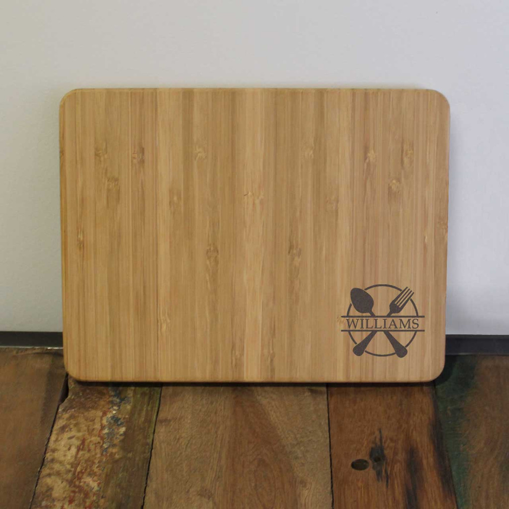 Fork and Spoon Engraved Cutting Board