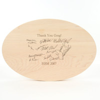 "Logo Engraved 12"" x 18"" Oval Maple Cutting Board w/Victorian Handles and Laser Engraved Signatures"