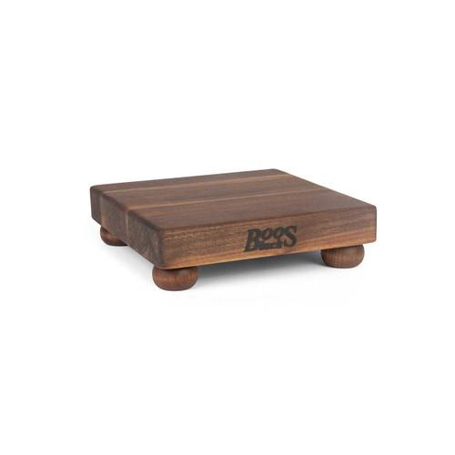 "John Boos Non-Reversible Walnut Cutting Board - 9""x 9""x 1-1/2"" - with Walnut Feet"