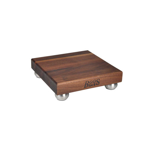 "John Boos Walnut B9 Cutting Board - 9""x 9""x 1-1/2"" with Stainless Steel Feet"