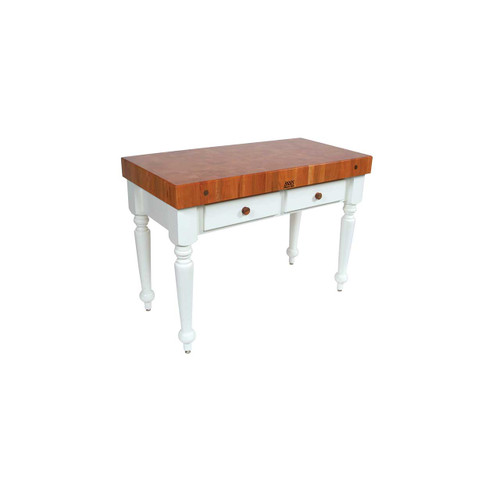 "John Boos Cherry Rustica Prep Table with Alabaster Base - 48""x 24""x 4"""
