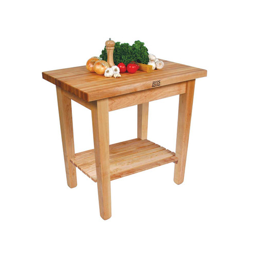 """John Boos Country Work Table with Shelf - 36""""x24""""x1-3/4"""""""