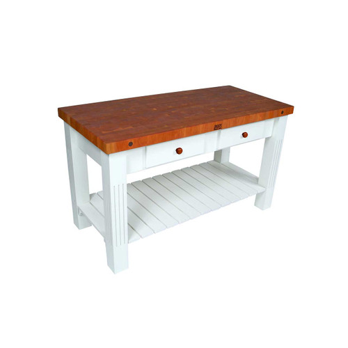 "John Boos Cherry Grazzi Kitchen Island, Prep Table with Alabaster Base - 60""x 28""x 2-1/4"""