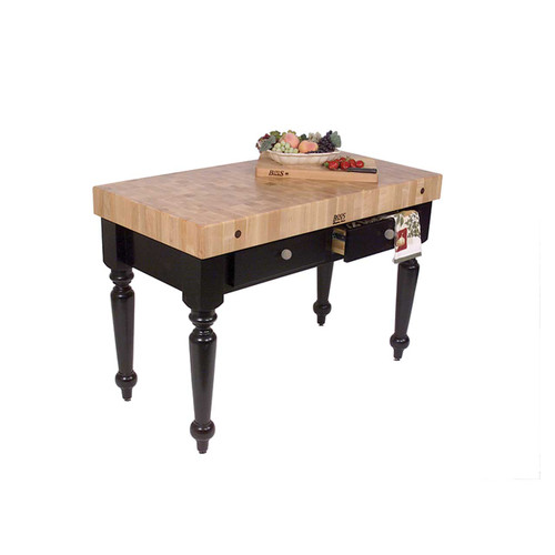 "John Boos Rustica Kitchen Island Black Base - 48""x 24""x 4"""