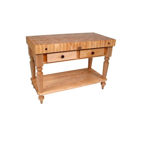 "John Boos Rustica Kitchen Island with Shelf  48""x 24""x 4"""
