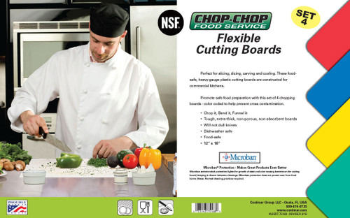 "Chop-Chop Food Service Color Coded Flexible Cutting Boards, Size 12"" x 18"", Pack of 4"