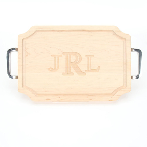 "Carved Monogram 12"" x 18"" Scalloped Maple Cutting Board w/Polished Handles and Laser Engraved Signatures"