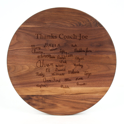 "Sports Engraved 16"" Round Walnut Cutting Board w/Laser Engraved Signatures"