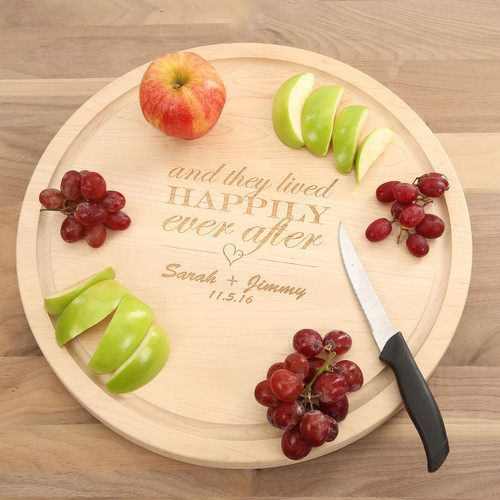 Happily Ever After Large Circle Maple Cutting Board