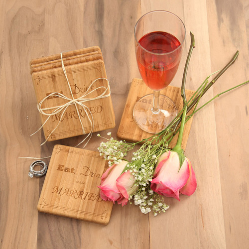 Eat Drink & Be Married Coaster Set