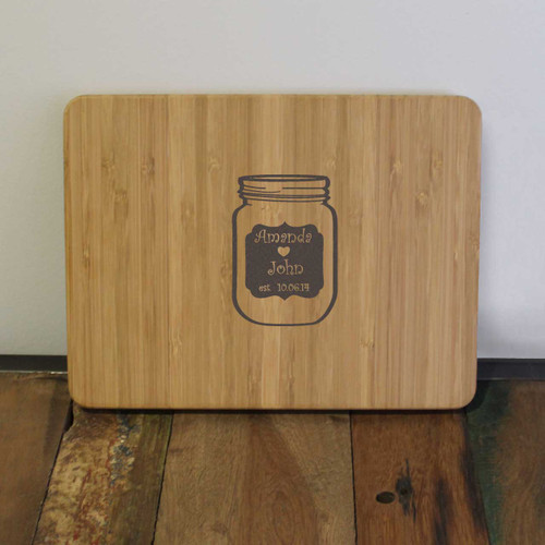 Wedding Bell Jar Engraved Cutting Board