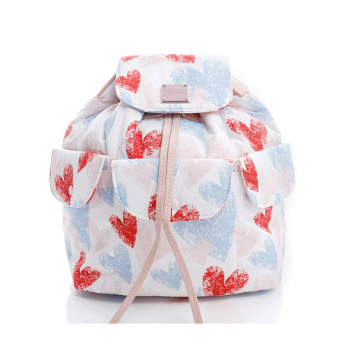 2 WAY DRAWSTRING HOBO BAG -Dancing Hearts -Light Pink