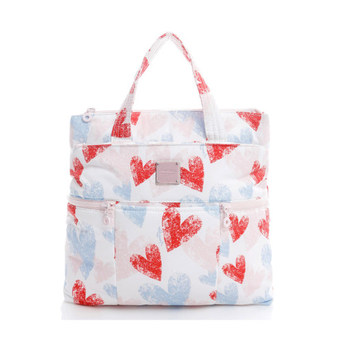 Convertible Satchel / Backpack - Dancing Hearts -Light Pink