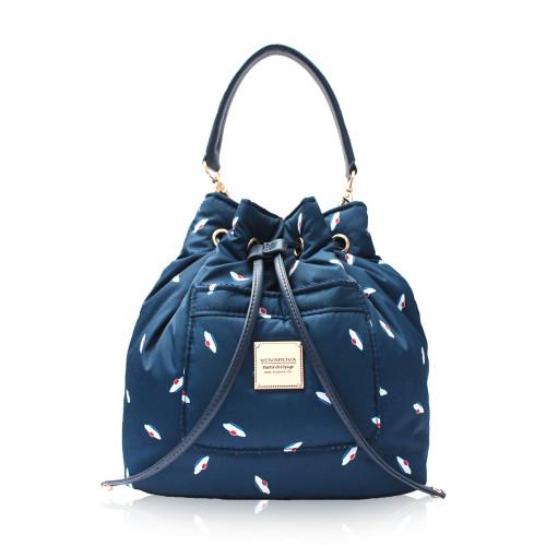 Mini Drawstring Bag - French Pom Pom - Navy