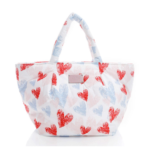 Pleat Tote - Dancing Hearts -Light Pink