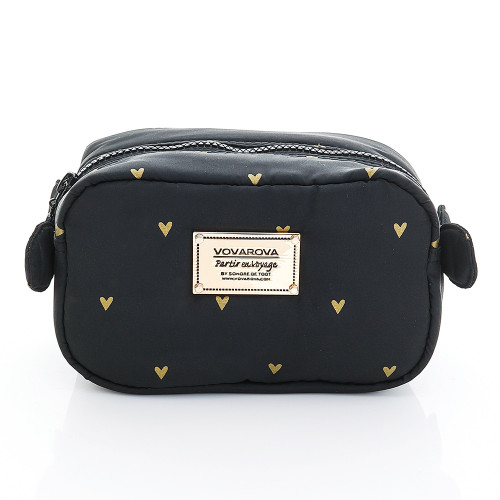 Travel Cosmetics Pouch With Ribbon - Mini Heart - Black