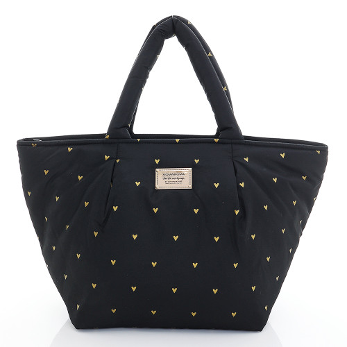 Pleat Tote - Mini Heart - black