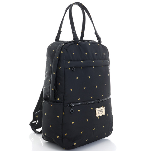 Double Handle Backpack - Mini Heart -Black
