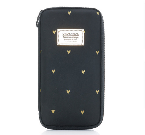 Travel Wallet - Mini Heart -Black