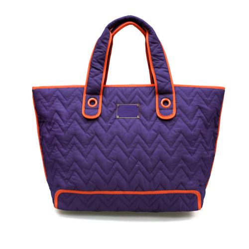 Zoe Tote Bag - Purple With Orange Trim