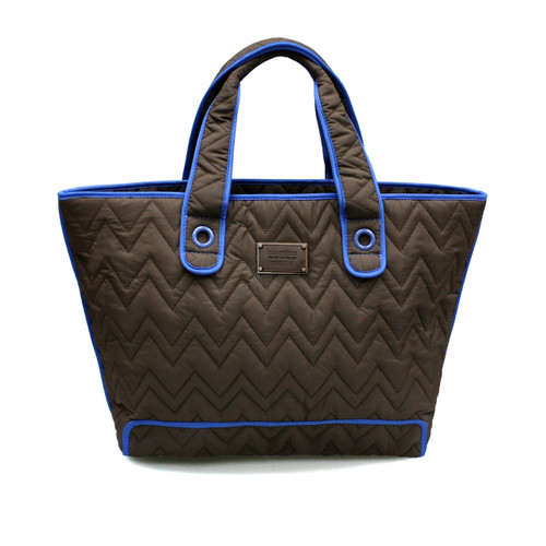 Zoe Tote Bag - Brown With Blue Trim