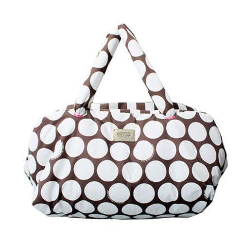 Travel Bag - Polka Dot - Brown/White