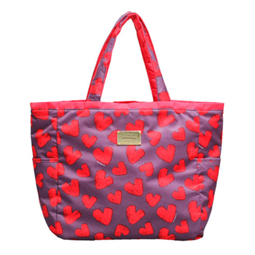 Reversible Tote - Fuzzy Heart - Grey