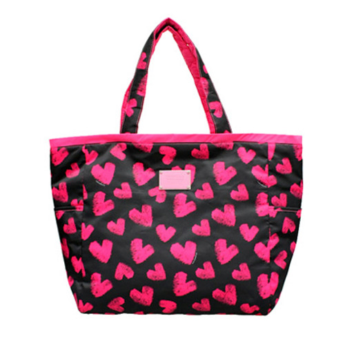 Reversible Tote - Fuzzy Heart - Pink